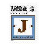 Modern Monogram J Blue & Chocolate Brown Postage Stamps