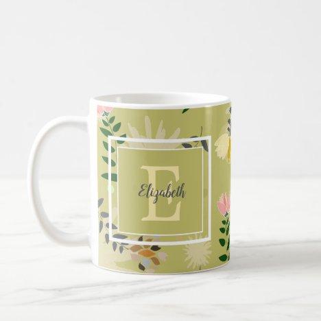 Modern Monogram Khaki Floral Pattern Coffee Mug