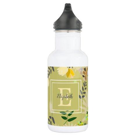 Modern Monogram Khaki Floral Pattern Stainless Steel Water Bottle