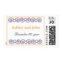 Modern Monogram lavender and orange Postage