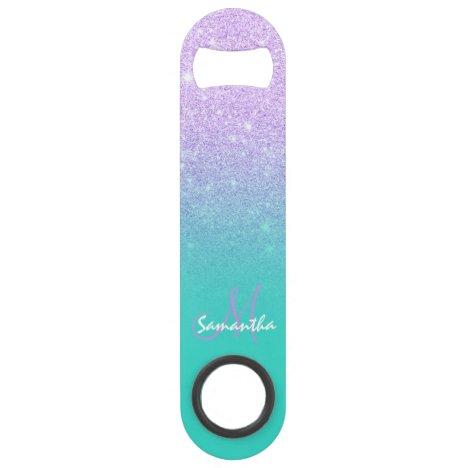 Modern monogram lavender glitter ombre turquoise bar key