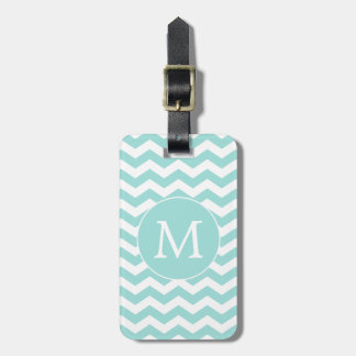 Modern Monogram Light Aqua Chevron Stripes Travel Bag Tag