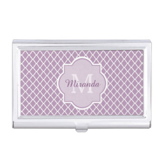 Modern Monogram Light Purple Quatrefoil With Name Case For Business Cards