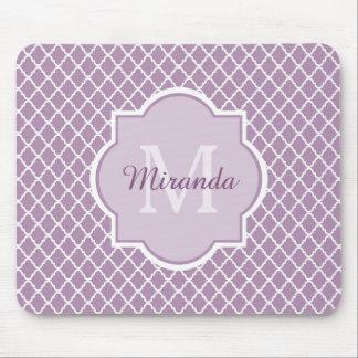 Modern Monogram Light Purple Quatrefoil With Name Mouse Pad