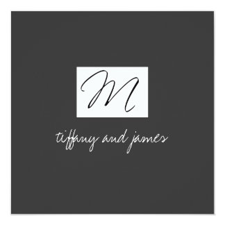 Modern Monogram Logo Wedding Invitation