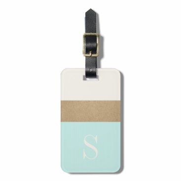 OakStreetPress Modern Monogram Mint Green Gold Stripe Luggage Tag