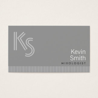 Modern Monogram Mixologist Business Card