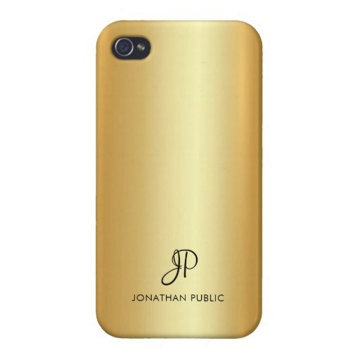 Modern Monogram Name Elegant Faux Gold Template Case For iPhone 4