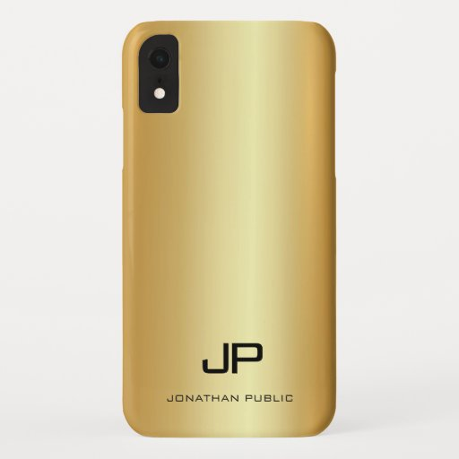 Modern Monogram Name Elegant Gold Look Template iPhone XR Case