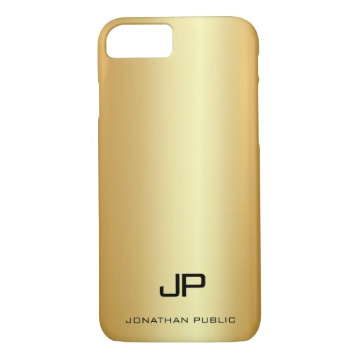 Modern Monogram Name Elegant Gold Look Template iPhone 8/7 Case