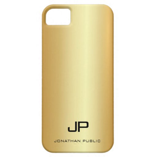 Modern Monogram Name Template Elegant Faux Gold iPhone SE/5/5s Case
