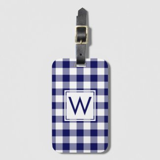 Modern Monogram Navy and White Gingham Pattern Bag Tag