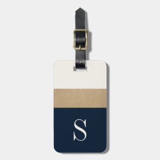 Modern Monogram Navy Blue Gold Striped Luggage Tag