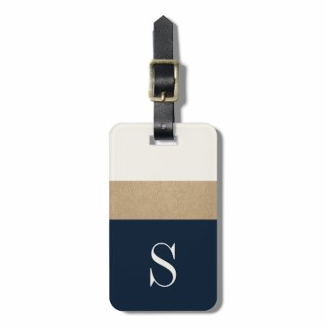 OakStreetPress Modern Monogram Navy Blue Gold Striped Luggage Tag