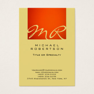 Modern Monogram Orange Buff Beige Business Card