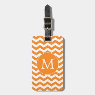 Modern Monogram Orange Chevron Stripes Luggage Tags