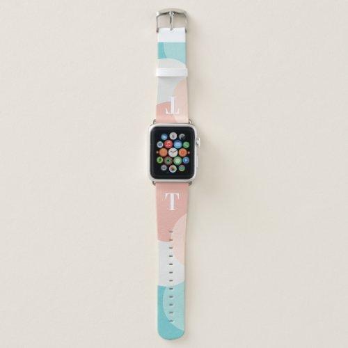 Modern monogram pastel design Apple watch bands