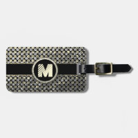 Modern Monogram Pattern in Gold and Black Tag For Luggage