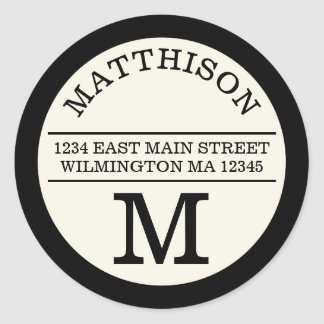 Modern Monogram Personal Round Address Label