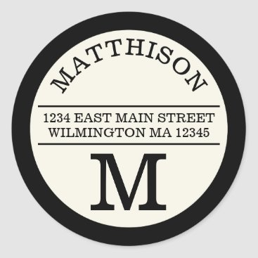 Professional Business Modern Monogram Personal Round Address Label