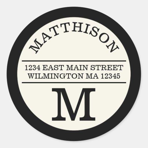 Modern Monogram Personal Round Address Label Classic Round Sticker