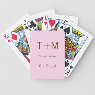 Modern Monogram - Pink and Brown Bicycle Playing Cards