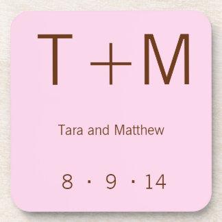 Modern Monogram - Pink and Brown Coaster