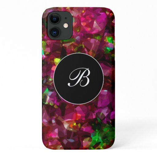 Modern Monogram Pink And Green Pattern iPhone 11 Case