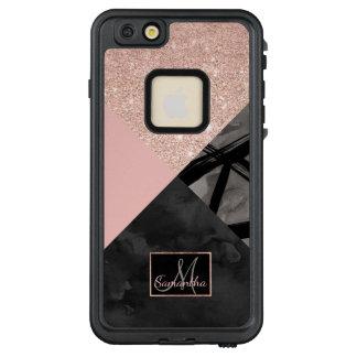 Modern monogram pink black watercolor color block LifeProof® FRĒ® iPhone 6/6s plus case