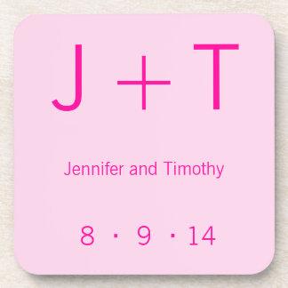 Modern Monogram - Pink Coaster