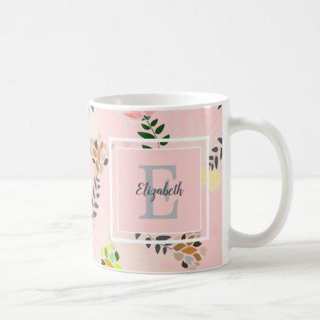 Modern Monogram Pink Floral Pattern Coffee Mug