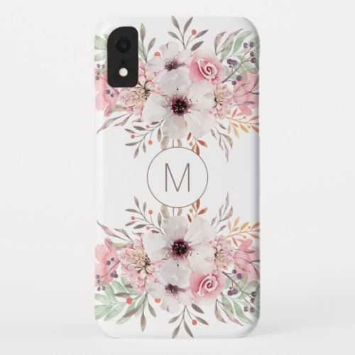 Modern Monogram Pink Watercolor Floral Phone Case