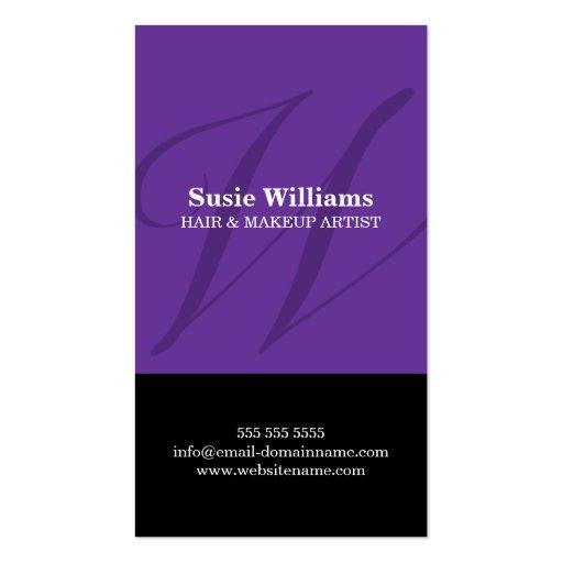 Modern Monogram Purple Business Cards
