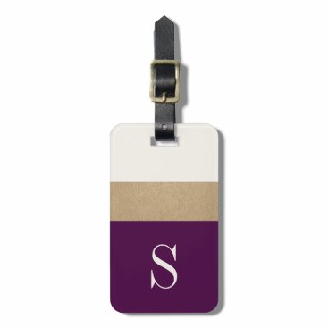 OakStreetPress Modern Monogram Purple Gold Striped | Luggage Tag