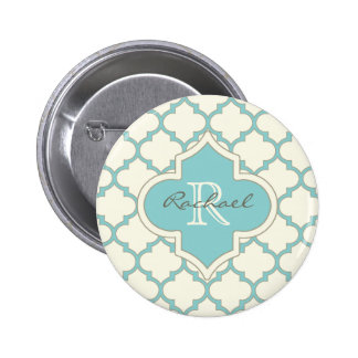 Modern Monogram Quatrefoil Pattern Ivory Turquoise Button