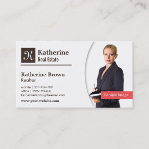 Real estate business cards zazzle modern monogram realtor real estate photo business card wajeb Image collections