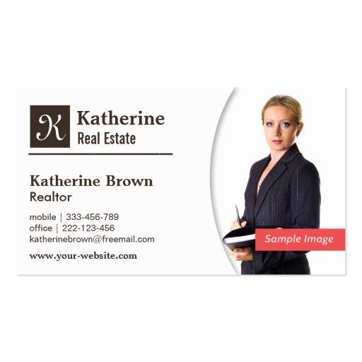 Modern monogram realtor real estate photo business for Modern real estate business cards