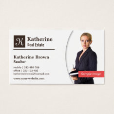 Modern, Monogram, Realtor, Real Estate, Photo Business Card at Zazzle
