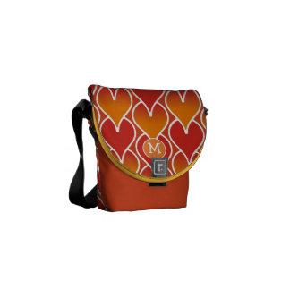 Modern Monogram Red and Orange Geometric Pattern Messenger Bag