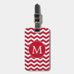 Modern Monogram Red Chevron Stripes Tags For Bags