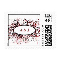 Modern Monogram red Postage