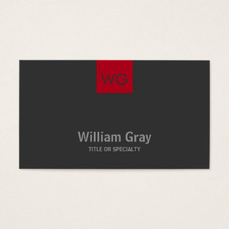 Modern Monogram Red Square Dark Business Card