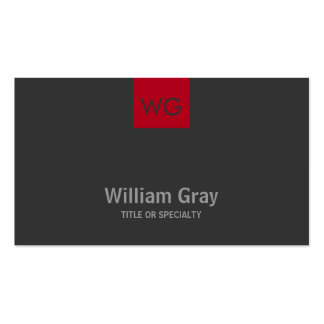 Modern Monogram Red Square Dark Business Card