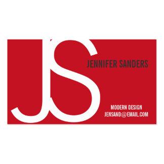Modern Monogram Red White Business Card