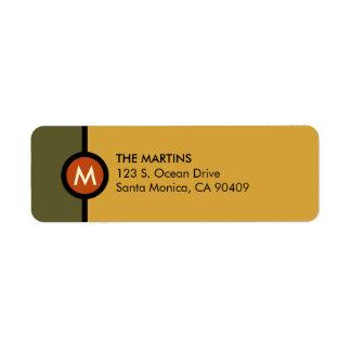 Modern Monogram Return Address Label - Green/Gold