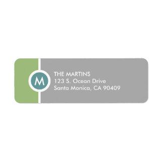 Modern Monogram Return Address Label - Green/Gray