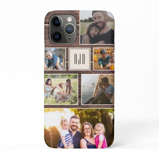 Modern Monogram Rustic Family Photo Collage iPhone 11 Pro Case