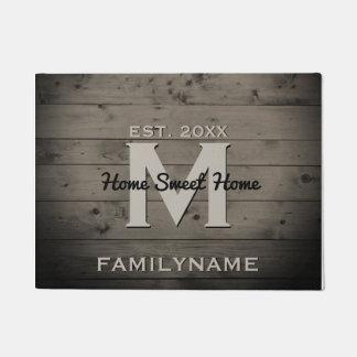 Modern Monogram Rustic Wood Family Logo Vintage Doormat