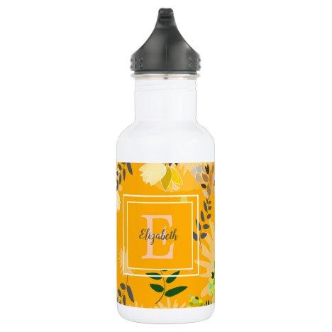 Modern Monogram Saffron Yellow Floral Pattern Stainless Steel Water Bottle