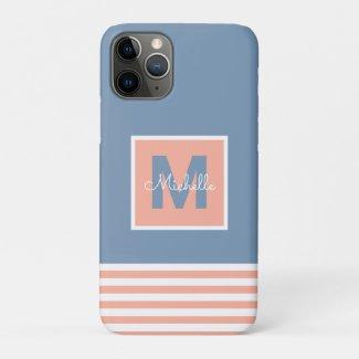Modern Monogram Striped Dusty Blue Blush iPhone 11 Pro Case